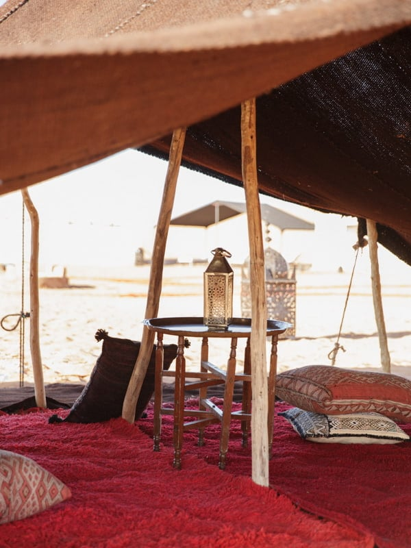 Cushions, Rugs, Soft Furnishings Under Shade of Beldi Camp Tent