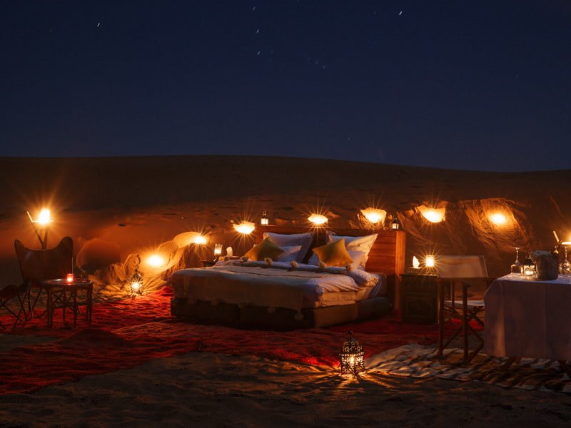 Romaintic Candle light Bedroom Under Starlight at Desert Camp Morocco