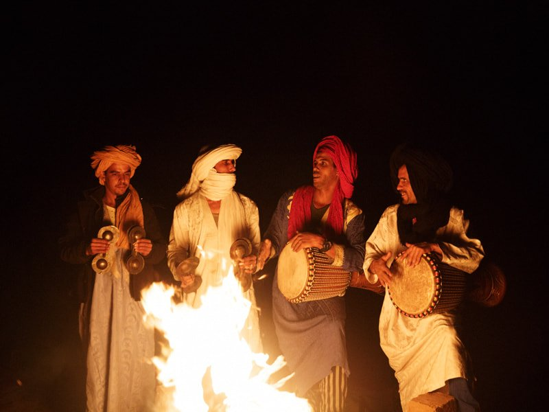 Berber Musicians playing Tarija drums, Shakers and Qarqaba hand cymbals by Camp Fire