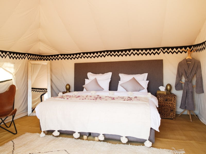 Luxury Sleeping, Double Bed at Private Camp Accommodation in Morocco