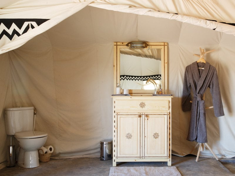Handmade Bathroom Facilities and Dressing Table at Sahara Camp