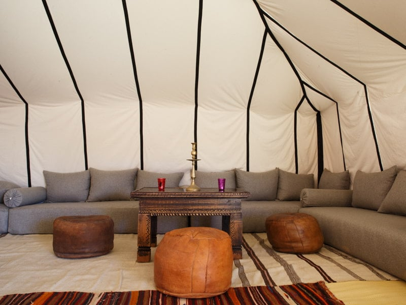 Lounge Sofa and Leather Pouf Seating in Authentic Desert Camp