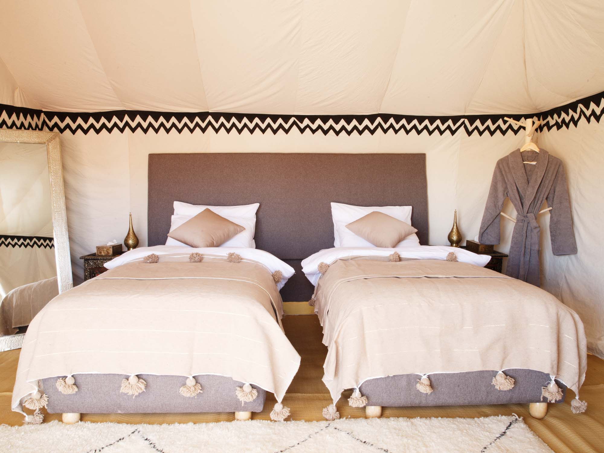 Luxury Twin Beds in Tent at Berber Luxury Desert Camp Erg Chigaga