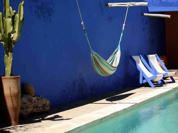 Hammock and Deckchairs by the Swimming Pool (la piscine) at the Riad Oasis