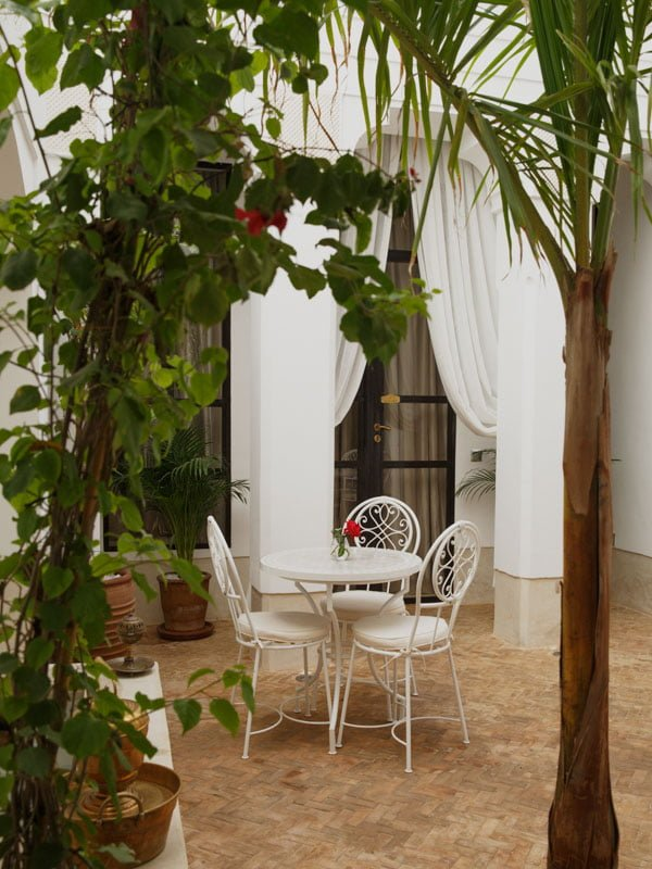 Table and Chairs on Marrakech Hotel Terrace with Ornate Trees and Foliage