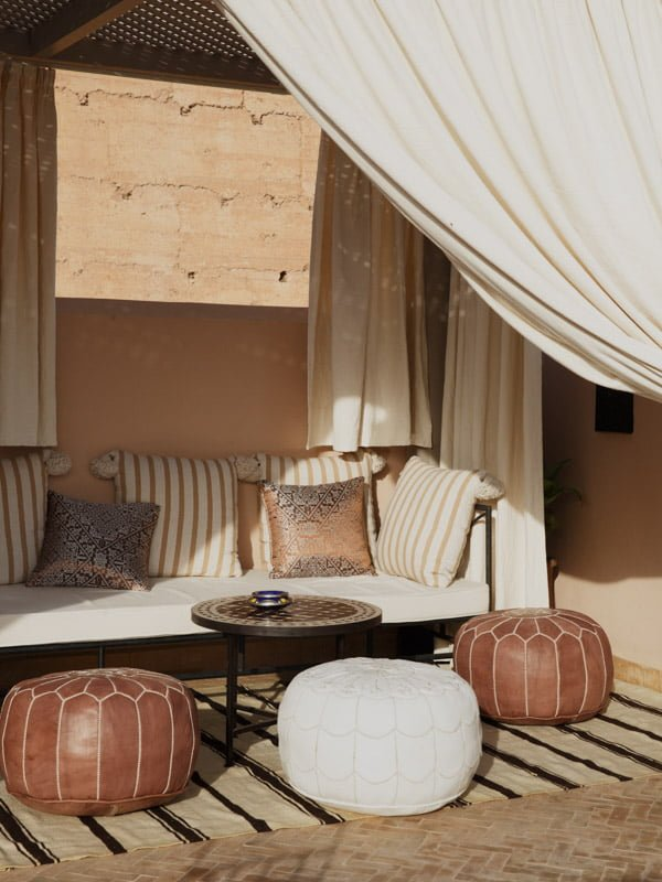 Hotel Furniture, Cushioned Sofa, Moroccan Poufs, Decorative Wooden Side Table